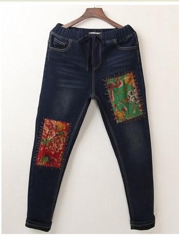 Original Literary Sen Female Line 2017 Winter National Wind Retro Velvet Stickers Bucharest Denim Trousers Feet Pants WomenОдежда и ак�е��уары<br><br><br>Aliexpress