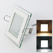 6W 9W 12W 18W LED Panel Downlight Square Glass Cover Lights High Bright Ceiling Recessed Lamps AC85-265 + Driver(China)