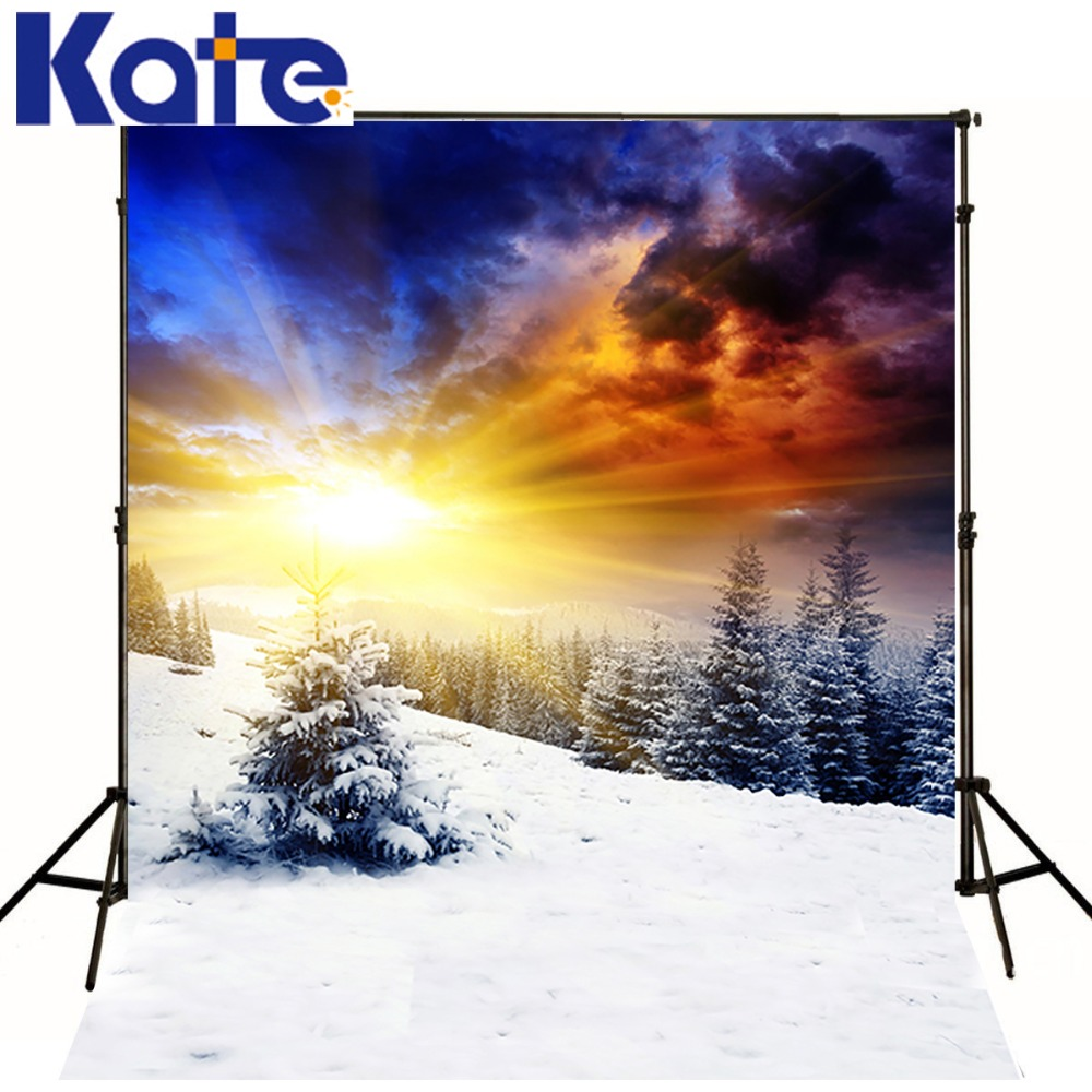 Digital Printing Kate Fantasy Photo Backdrop Cedar Cold Winter Snow Backdrops   Photo Backdrops Can Add Words Customize<br>
