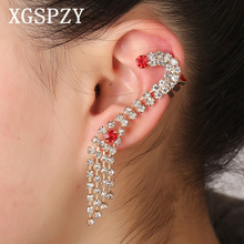 XGSPZY Trendy Tassel Crystal Ear Cuff Unique Curved Red Zircon Jewelry Korean Pop Full Rhinestone Link Chain Gift Clip Earring(China)