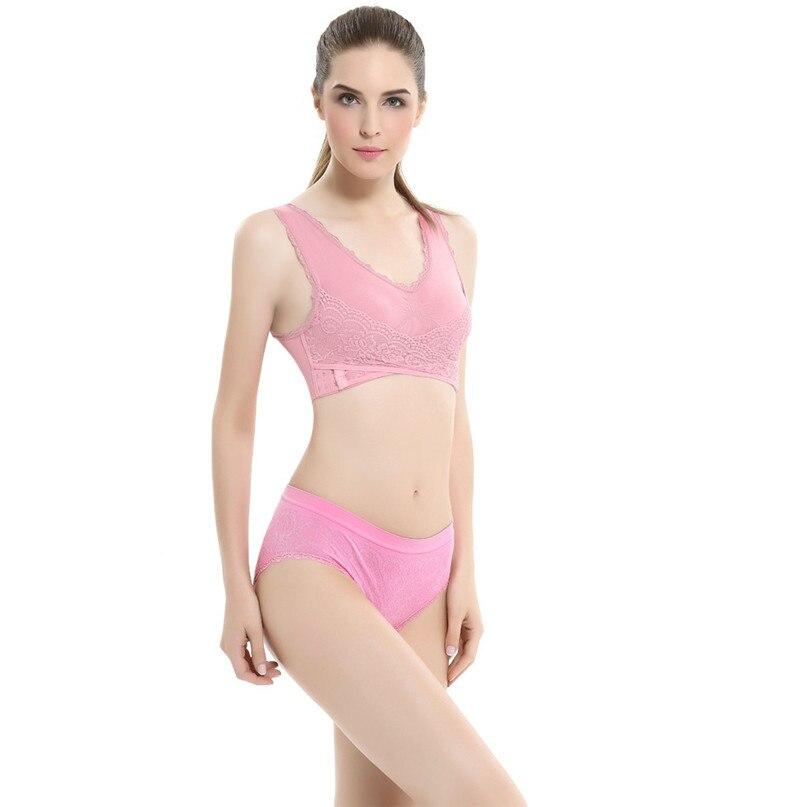 Women Sports Bra Sports Underwear Fitness Yoga Running Pad Cropped Top Sports Wear Tank Tops Anti-Sweat Lace Bra #3j#F (3)