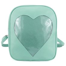 Clear Candy Backpacks Transparent Love Heart School Bags for Teen Girls Kids Purse Bag(Green)(China)