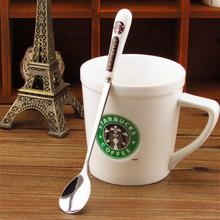 Hot Sale Starbuck Spoon 200 PCS 18cm,Ceramic and Stainless Steel Spoons,Coffee Spoons with STARBUCK logos