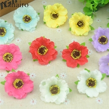 30pcs/lot 4Cm Mini Silk Cherry Blossoms Small Artificial  Rose Flowers Heads Poppy Wreath Wedding Decoration For Scrapbooking
