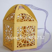 laser cut MOQ300pcs mix colors party decoration supply indian wedding favor cobweb wedding box in gifts &crafts with OEM(China)