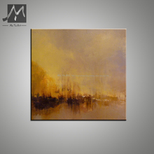Vintage abstract modern canvas wall handmade yellow scenery sunset oil painting on canvas for living room bedroom decoration