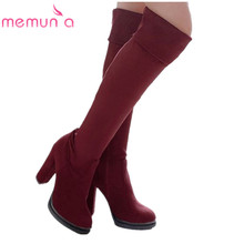 MEMUNIA New fashion women boots flock round toe platform high heels autumn winter over the knee boots lady thigh high boots