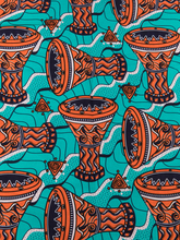 Tribal Fabric Swatches Real Wax Green Orange Retro Patterns 6 Yards rw241008(China)