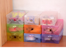 100pcs/lot Women's High Heels Plastic Clear Shoes Box Storage Packaging Organizer Box Case 28cm*18cm*10cm, Free Shipping