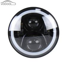 "50W 7"" Round Colorful LED Car Halo Ring Headlamp Aperture Light-emitting Diode Headlight Head Light Lamp for Jeep Wrangler Auto(China)"