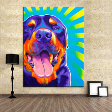 Large size Print Oil Painting rottweiler duncan Wall painting Home Decorative Wall Art Picture For Living Room paintng No Frame(China)