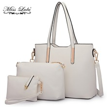 Miss Lulu Brand 1 Set 3 Pieces Women Designer Shoulder Handbag + Cross Body Satchel Bag + Purse PU Leather Tote White LT6648