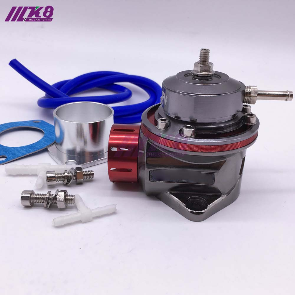 UNIVERSAL TYPE-RS STYLE TURBO CHARGED BLOW OFF VALVE BOV W// FLANGE ADAPTER BLUE