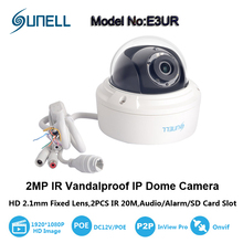 Sunell 2 Megapixel HD 2.1mm Fixed Lens 120 degree Wide Angle Water-Proof Vandal-Proof Network Dome IP Camera,Audio/Alarm/SD Card