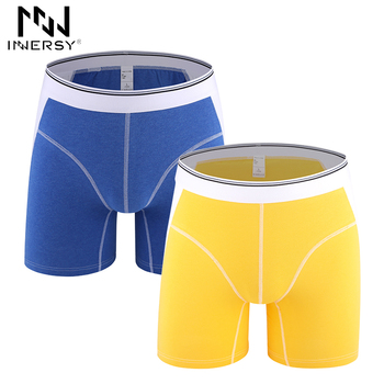 Boxeador Innersy Novo 2 Peças/lote Sólida Algodão Boxer cuecas Masculinas Boxer Curto Homem cueca de Seda macia Longo Homewear Plus Size