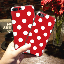 Silicone case Red and white polka dot Design High Quality Classic phone Accessories  For case iphone 5s 6s 6plus 7 7plus