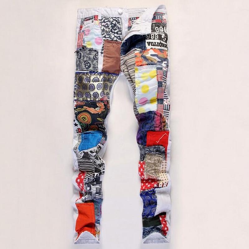 Newest Mens Hip Hop Jeans Pants Patchwork Colorful Washed Slim Fit Club Hiphop Denim Jean Pants Men FreeshipОдежда и ак�е��уары<br><br><br>Aliexpress