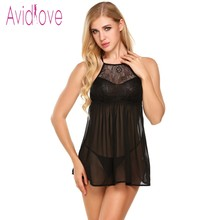 Buy Avidlove Sexy Lingerie Sexy Hot Erotic Sleepwear Women Transparent Babydoll Lace Sex Night Sleep Wear Nightgown Porn Clothes