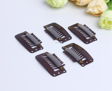 50pcs Brown color 9 teeth snap clips in on hair weave extensions U Shape weft toupee wig closure styling tools