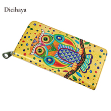 DICIHAYA Genuine Leather Design Women Wallets Ladies Clutch Bags Famous Purse Long Cute Owl Wallet Female Animal Print Wallet