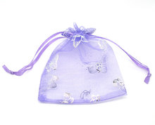 100Pcs 7x9cm Purple Butterfly Organza Wedding Gift Jewelry Bags&Pouches (Over $110 Free Express)(China)
