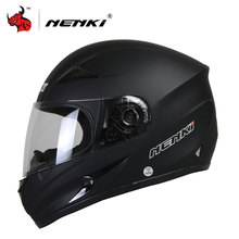 NENKI Moto Helmet Black Motorcycle Full Face Retro Scooter Helmets Motorbike Riding Racing Helmet Shield Men's Motocross Helmet