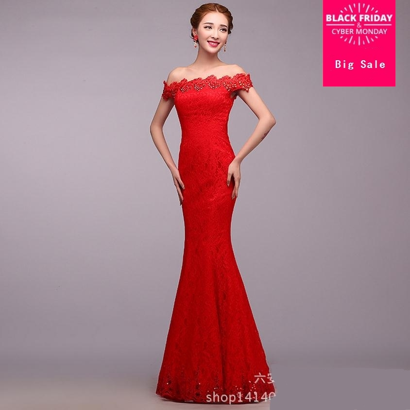 2018 Beading Diamond Slim gown dress Red stitching embroidery hollow cut  bride toast clothing Strapless long cheongsam W887