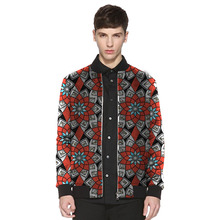 Customized brightly colored african men baseball jacket africa print stand collar dashiki coat patchwork african clothes