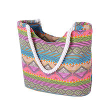 Ethnic Printing Women Canvas Beach Bag New Swimming And Diving Bags Hot Female Shopping Tote Beach Shower Bag(China)