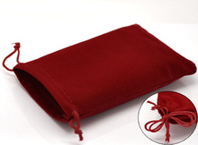 "DoreenBeads Velveteen Velvet Bags Rectangle Red 15cm x10cm(5 7/8"" x3 7/8""), 2 PCs 2016 new"