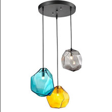 colorful crystal glass stone pendant light by Italy designer for dining room bar decor led G9*3/1 heads AC 90-260V lighting