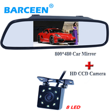 "2016 NEW arrival 8 led more bright car parking camera with 4.3"" car rear view mirrror monitor black fit into universal cars(China)"