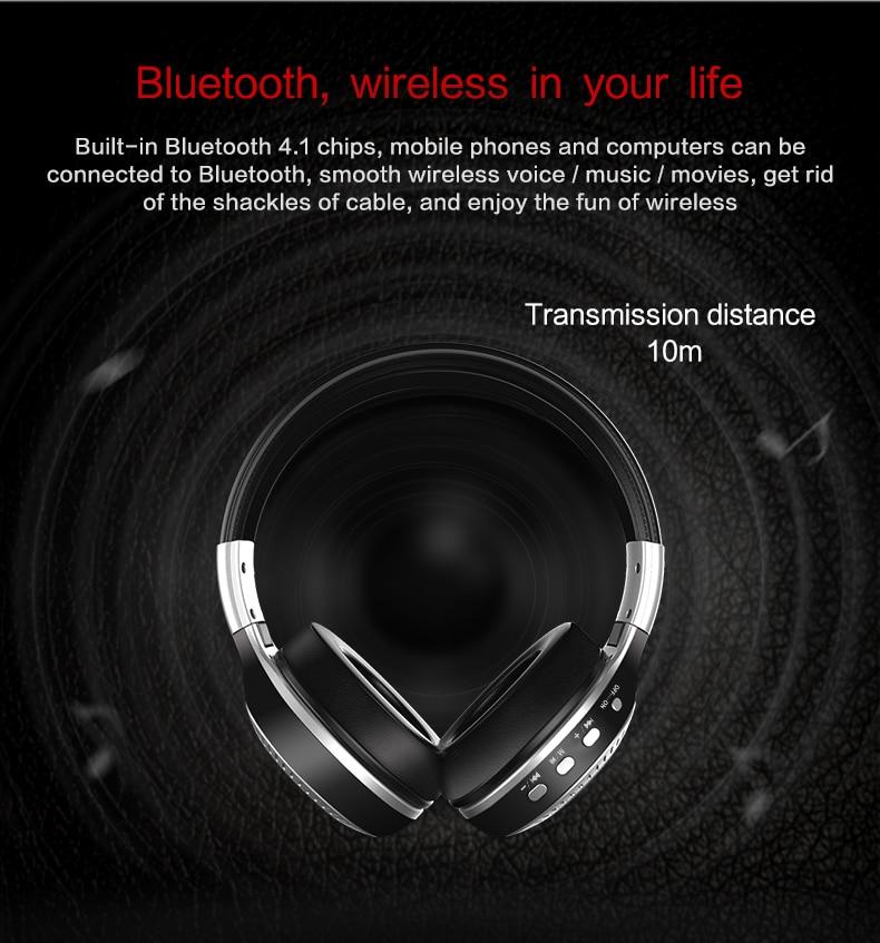Zealot B19 Wireless Headphones LCD Display Screen HiFi Bass Stereo Earphone Bluetooth Headset with Mic + FM Radio + TF Card Slot 9