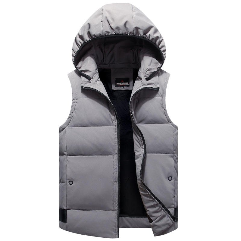 White Duck Down Sleeveless Jacket For Men 2018 Warm Casual Parka Waistcoat Hooded 5 Colors Outerwear Male Vest Autumn Winter New