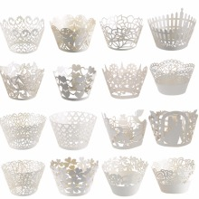 Big Sales! 20Kinds Lace Laser Cut Cupcake Wrapper Liner Baking Cup For Home Wedding / Birthday / Christmas Party Decoration