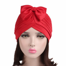 EMS OR DHL 120PCS 2017 New Fashion Bow-Knot Headband Solid Muslim Indian Cap Women Hair Band TJM-279 Feminina Hair Accessories(China)