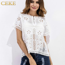 CEKE 2017 Summer New Style White Lace Blouse Women Elegant Short Sleeve Outer Wear Hollow Out Fashion Shirt Tops