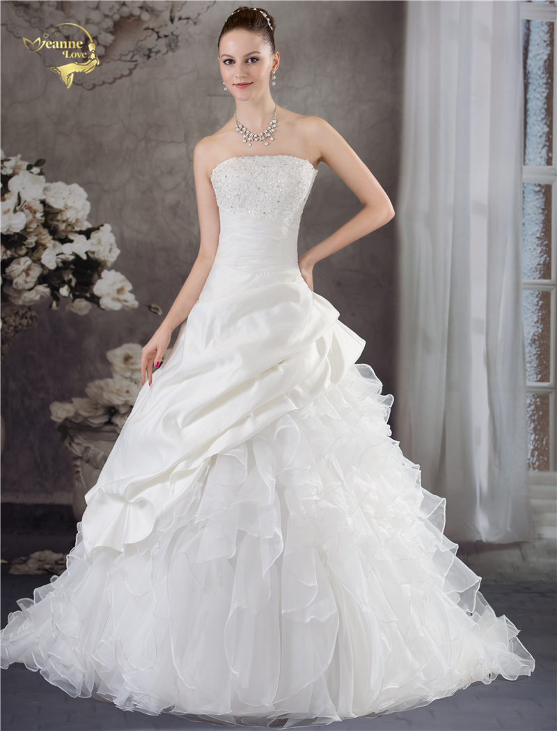 Online get cheap lovely wedding dresses aliexpress alibaba jeanne love strapless wedding dresses 2018 a line fashion wedding gowns organza lace beading robe de ombrellifo Image collections