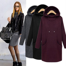 2017 thickening Winter Hooded Sweatshirt Dress Women Long Sleeve Pocket Casual Shift plus size XS- 5XL 6XL Hoodies & Sweatshirts