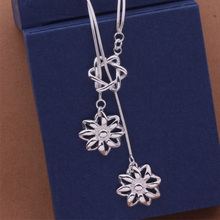 925 Silver Pendant Necklace Cute Flower Mulit Chain Jewelry For Women Best Gift Pendant Long Necklace Party Anniversary AN459