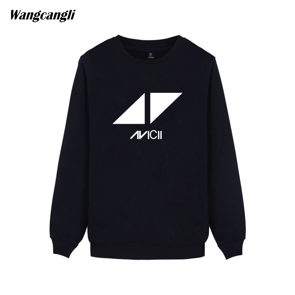 2017 DJ Avicii Logo Harajuku O-Neck Hoodies Men Pint Capless Sweatshirt Men/Women Hip Hop Streetwear Hoodies Men Plus Size