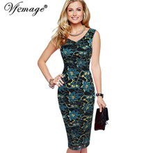 Vfemage Womens Elegant Sexy V Neck Floral Lace Sleeveless Tunic Casual Party Club Clubwear Pencil Sheath Dress 2643(China)