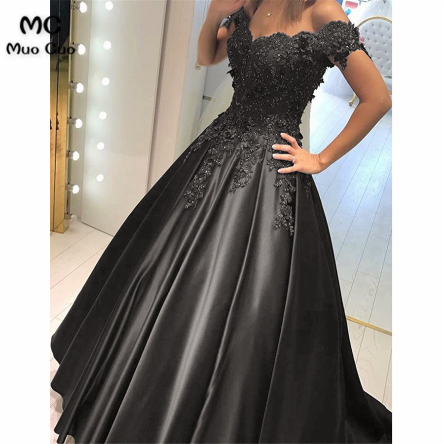 Lace Flower Off The Shoulder Satin Prom Dresses Ball Gowns2