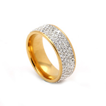 5 Rows Crystal Stainless Steel Ring for Women Elegant Full Finger Love Wedding Rings Jewelry factory price 2017 yellow ring