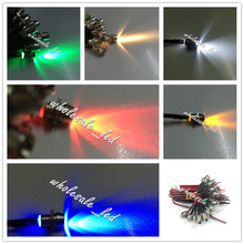 20pcs Pre wired LED Light Lamp Bulb 3mm 18cm Prewired 12V with Chrome Bezel Holder White Orange Red Blue Green Yellow RGB Flash