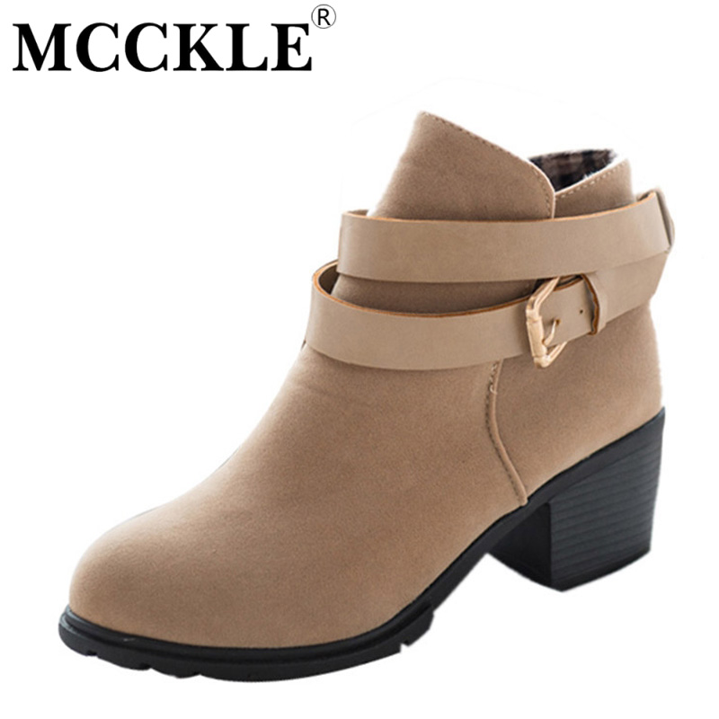 MCCKLE womens fashion high heel ankle boots buckle casual comfortable party shoes 2017 new platform suede strappy shoes<br><br>Aliexpress
