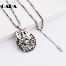 CARA New Arrival well polished stainless steel men necklace badge pendant snake chain necklace individualized jewelry CAGF0268