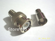 100 PCS Crimp on BNC Male RG59 Coax Coaxial Connector For CCTV camera(China)