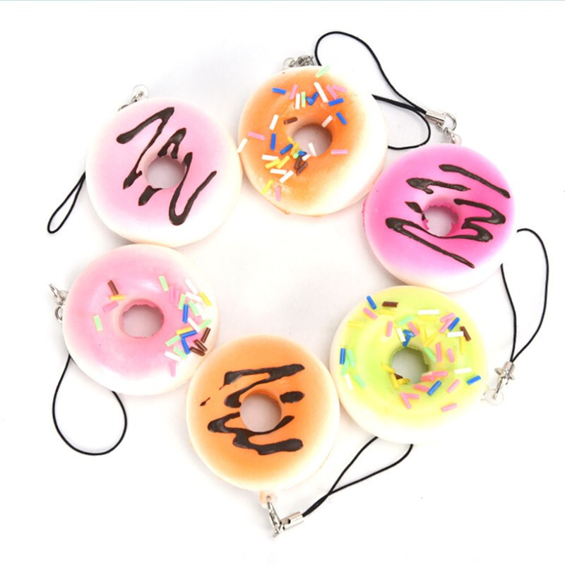 Artificial Fake Bread Donuts Keychain Doughnuts Simulation Model Ornaments Cake Bakery Room Home Decoration Craft Toys