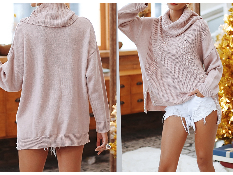Beading turtleneck onesize knitted pullover casual sweater